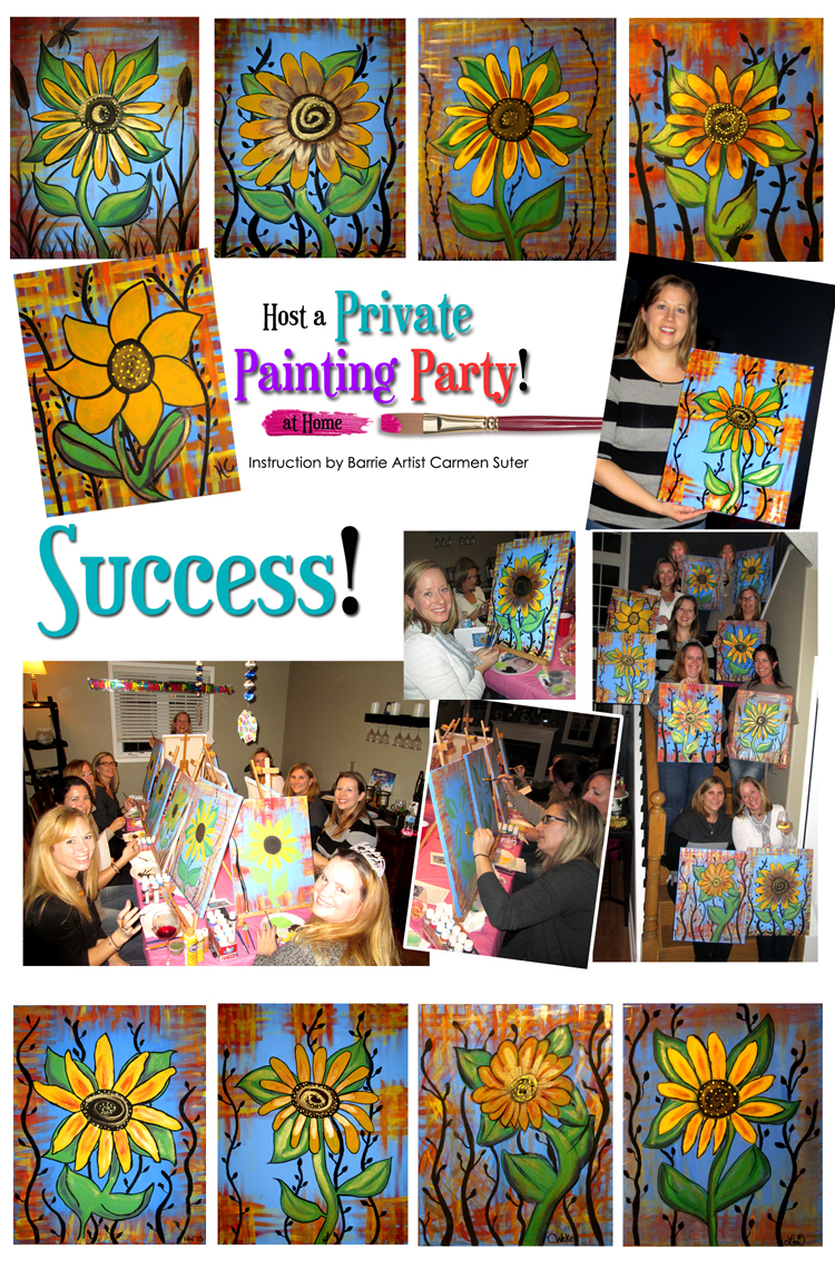 Barrie private painting party sunflowers success for Private paint party